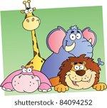 four cartoon jungle animals | Shutterstock .eps vector #84094252