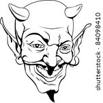 A black and white cartoon style devil face - stock photo