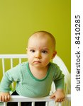 portrait of little baby in crib | Shutterstock . vector #8410285