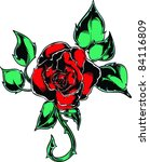 vector tattoo rose | Shutterstock .eps vector #84116809