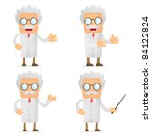 set of funny cartoon scientist... | Shutterstock .eps vector #84122824