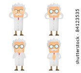set of funny cartoon scientist... | Shutterstock .eps vector #84123535