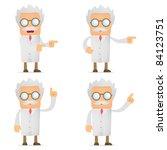 set of funny cartoon scientist... | Shutterstock .eps vector #84123751