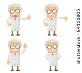 set of funny cartoon scientist... | Shutterstock .eps vector #84123805