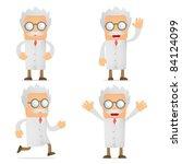 set of funny cartoon scientist... | Shutterstock .eps vector #84124099