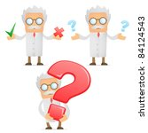 set of funny cartoon scientist...   Shutterstock .eps vector #84124543