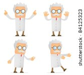 set of funny cartoon scientist... | Shutterstock .eps vector #84125323