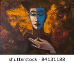 Portrait of girl , original oil painting on canvas - stock photo