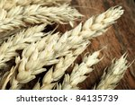 Wheat Ears on the Wood background , - stock photo
