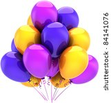 Balloons birthday party decoration blue purple yellow multicolor. Happy positive joy abstract. Anniversary celebration graduation greeting card concept. Detailed 3D render isolated on white background - stock photo