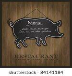 vector blackboard pig... | Shutterstock .eps vector #84141184