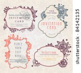 invitation cards with a floral... | Shutterstock .eps vector #84142135