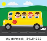 school bus on the road with... | Shutterstock .eps vector #84154132