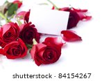 Red Rose With Petals And Blank...
