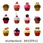 cartoon cake icons set | Shutterstock .eps vector #84155911