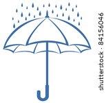 Vector  Blue Umbrella And Rain...