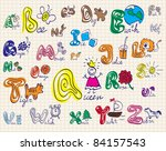 vector alphabet with a colored... | Shutterstock .eps vector #84157543