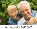 boy with his   grandparent play ... | Shutterstock . vector #84158485
