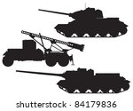 World War II Battle technique vector silhouettes. T-34 Tank, Katyusha multiple rocket launcher and SU-100 tank destroyer, WW2 Soviet Union Russian Red Army