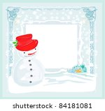 happy snowman card | Shutterstock .eps vector #84181081