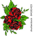 vector tattoo rose | Shutterstock .eps vector #84181423
