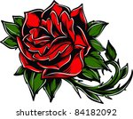 vector tattoo rose | Shutterstock .eps vector #84182092