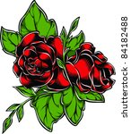 vector tattoo rose | Shutterstock .eps vector #84182488