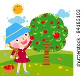 a little girl collects apples... | Shutterstock .eps vector #84183103
