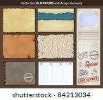old papers. vector set of... | Shutterstock .eps vector #84213034