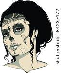 vector tattoo zombie girl | Shutterstock .eps vector #84237472