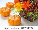 Halloween Flowers And Pumpkins