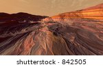 Ancient Lava-field and Rock Strata - stock photo