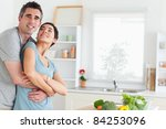 smiling husband and wife... | Shutterstock . vector #84253096