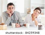unhappy couple drinking coffee... | Shutterstock . vector #84259348