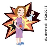Caucasian mom - young woman holding her belly. She feel pains. Vector Illustration. - stock vector