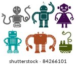 color retro robot set - stock vector