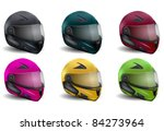 Motorcycle Helmets Collection Different Colors