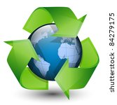 recycling arrows and blue earth.... | Shutterstock .eps vector #84279175