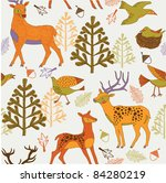 autumn forest with cute deers... | Shutterstock .eps vector #84280219