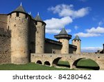 Image of wall and towers in Carcassonne fortified town in France. - stock photo