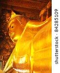 Reclining Buddha at Wat Pho, Bangkok, Thailand - stock photo