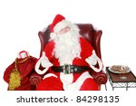 Santa Claus, isolated on white with room for your text - stock photo