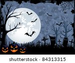 grunge halloween night... | Shutterstock .eps vector #84313315