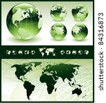 globes with world map | Shutterstock .eps vector #84316873