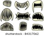 halloween teeth set - stock vector