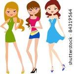 illustration of three fashion... | Shutterstock .eps vector #84319564