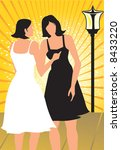 silhouette of two ladies... | Shutterstock .eps vector #8433220