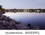beautiful Wascana lake on a quiet summer night - stock photo