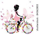 girl on a bicycle with a... | Shutterstock .eps vector #84362803