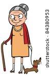happy old cartoon woman walking ...   Shutterstock .eps vector #84380953
